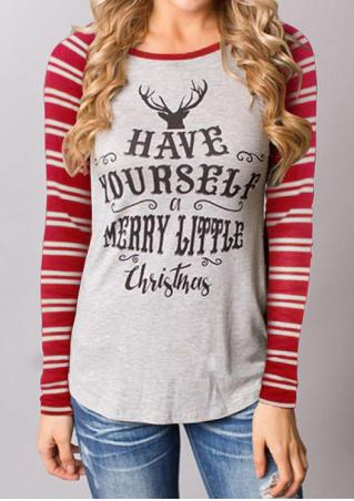 Christmas Reindeer Letter Printed Striped Blouse