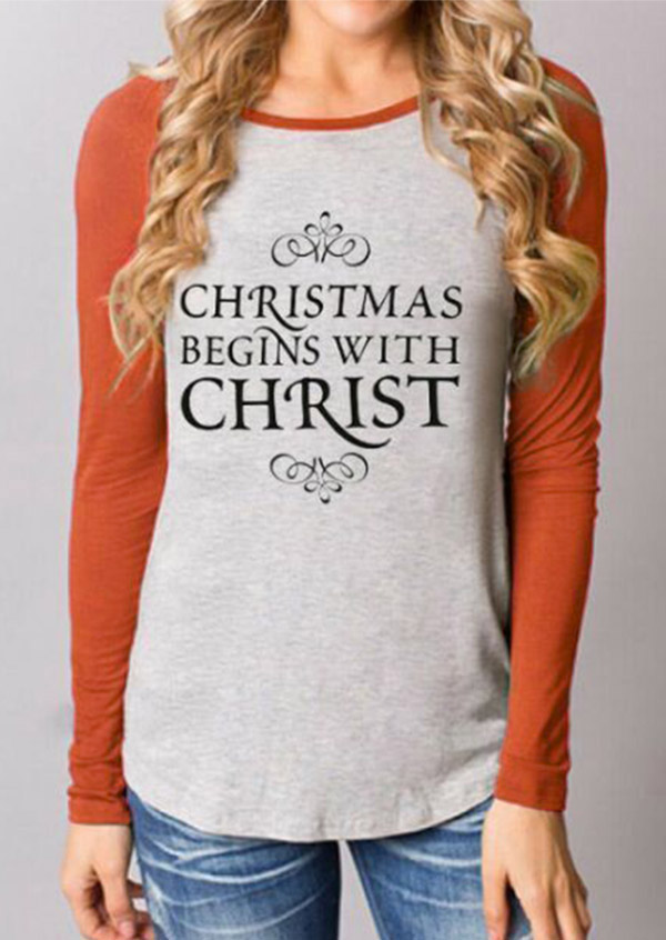 Christmas Letter Printed Splicing Long Sleeve Blouse
