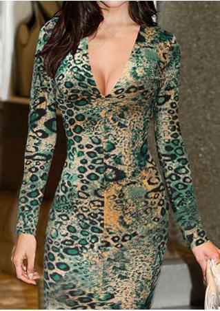 Leopard Slit Long Sleeve Bodycon Dress