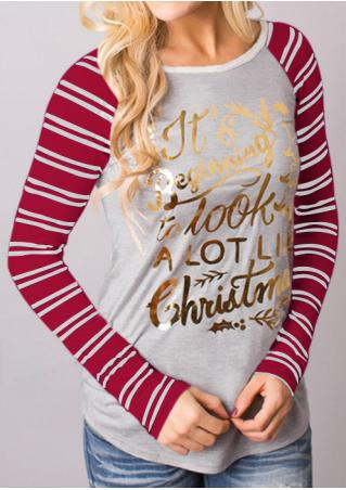 Letter Printed Striped Splicing T-Shirt