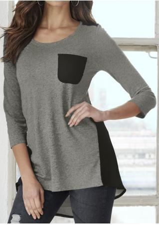 Color Block Pocket Long Sleeve Asymmetric Blouse