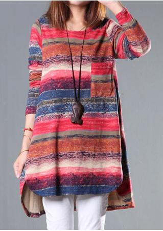 Multicolor Printed Blouse Without Necklace