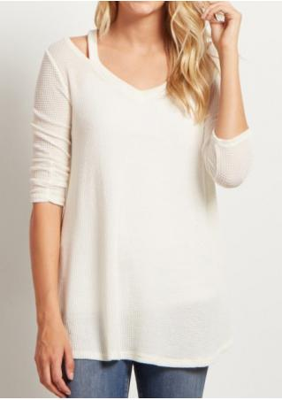 Solid Hollow Out Slim Blouse