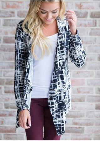 Printed Asymmetric Long Sleeve Cardigan