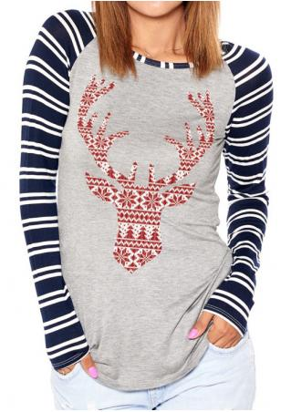 Christmas Striped Splicing Reindeer Printed T-Shirt