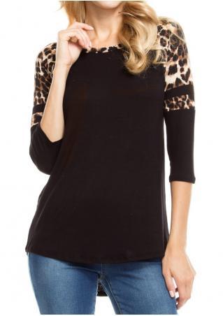 Leopard Splicing O-Neck T-Shirt