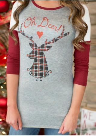 Christmas Reindeer Letter Printed Splicing Blouse