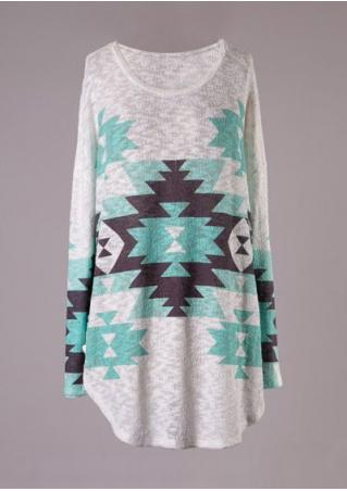 Geometric Printed Asymmetric Long Sleeve Blouse