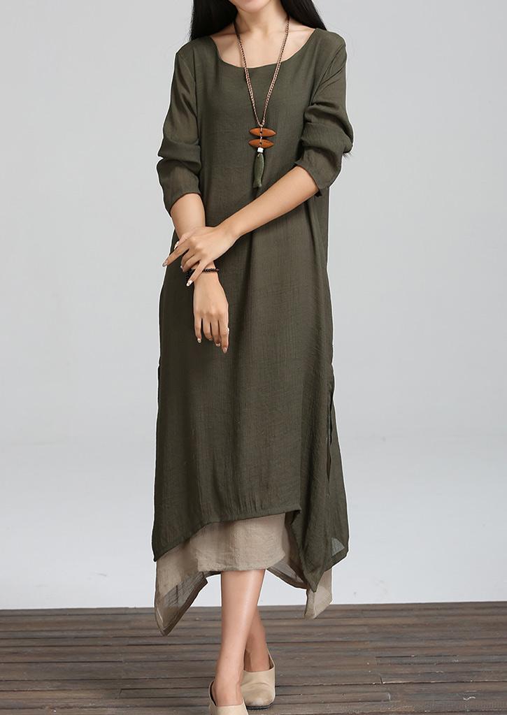 Layered Side Slit Maxi Dress Without Necklace Fairyseason