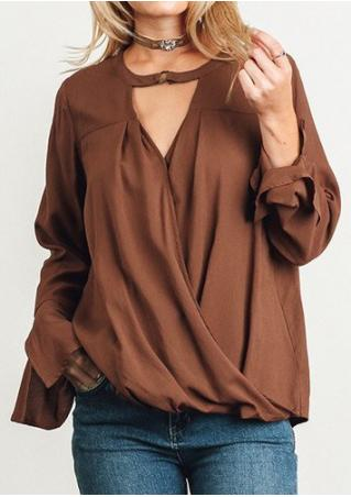 Solid Draped Long Sleeve Blouse Without Necklace