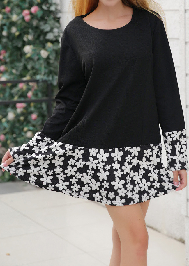 Image of Floral Splicing Casual Mini Dress