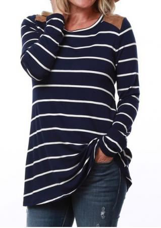 Striped Splicing Casual T-Shirt