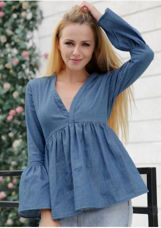 Solid Ruffled V-Neck Denim Blouse