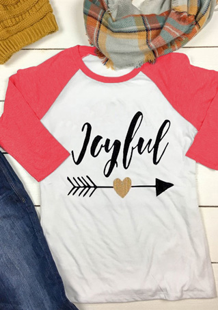 Arrow Letter Printed Splicing O-Neck T-Shirt Arrow