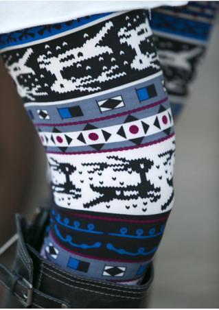 Christmas Reindeer Geometric Printed Stretchy Leggings