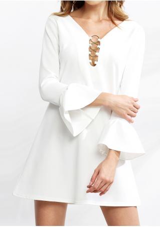Solid Ring Detail Deep V-Neck Mini Dress