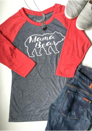 Mama Bear Letter Printed Splicing O-Neck T-Shirt