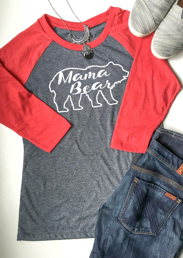 Mama Bear Letter Printed Splicing O Neck T Shirt Fairyseason