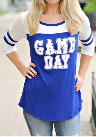 GAME DAY Printed Striped O-Neck T-Shirt