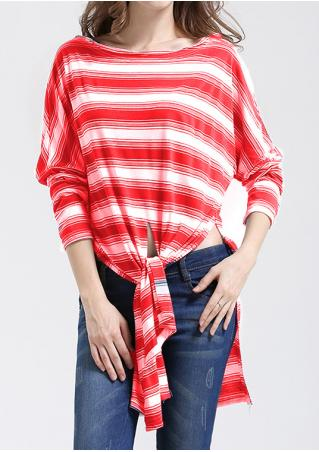 Striped Slit Knot Loose Blouse