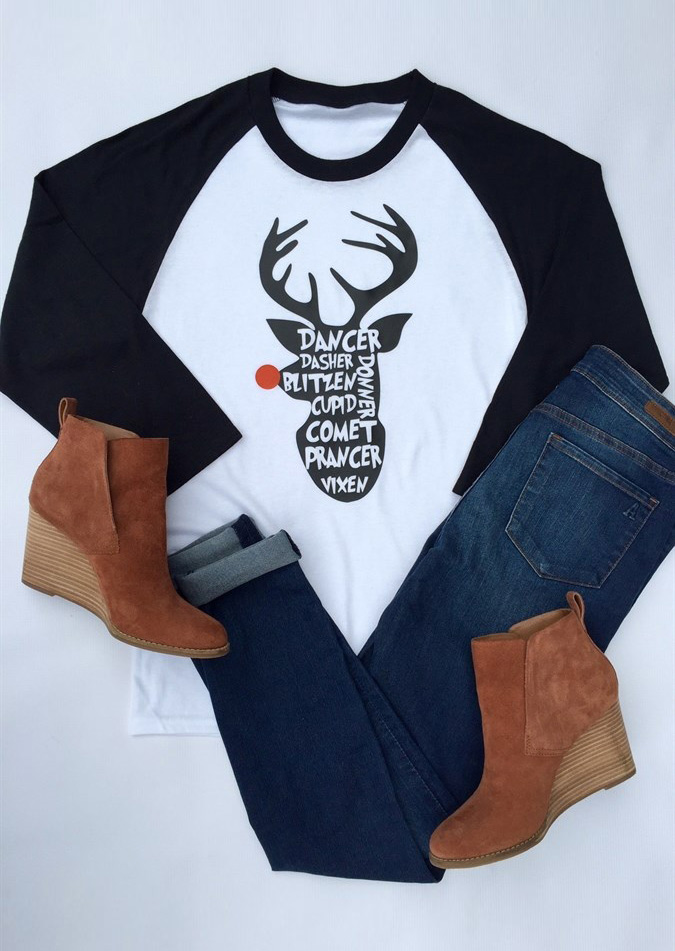 Christmas reindeer letter printed splicing t shirt for Letter print t shirt