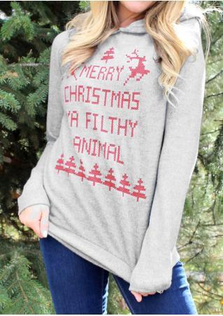 Christmas Reindeer Letter Printed Hoodie
