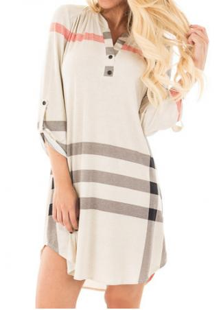 Plaid Tab-Sleeve Mini Shift Dress