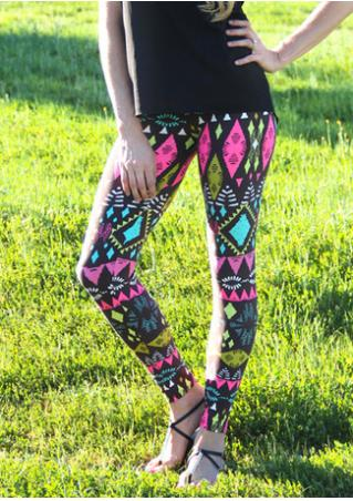 Multicolor Geometric Printed Stretchy Leggings