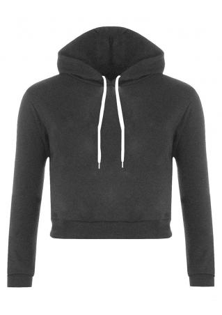 Solid Long Sleeve Hooded Crop Top