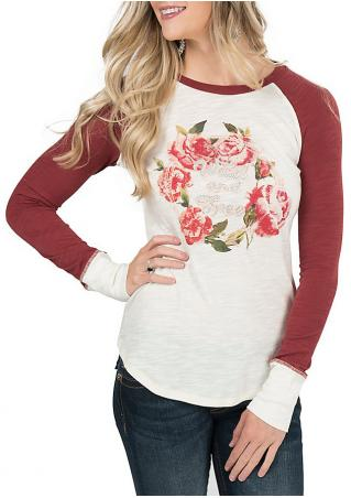 Floral Printed Splicing Casual T-Shirt