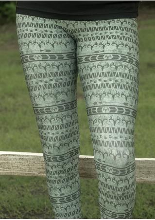 Christmas Reindeer Arrow Printed Slim Leggings