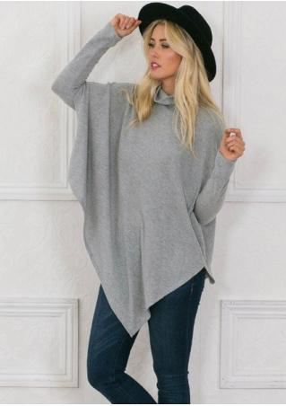 Solid Asymmetric Long Sleeve Loose Blouse