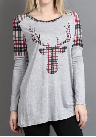 Christmas Reindeer Printed Long Sleeve Blouse