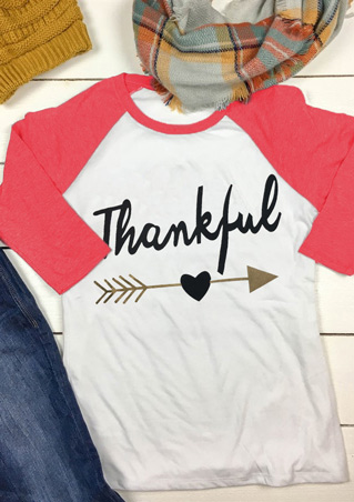 Thankful Letter Arrow Printed Splicing Fahion T-Shirt