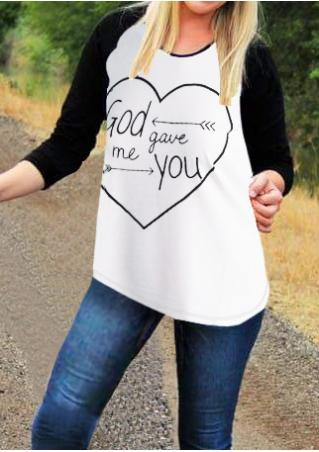Heart Letter Printed O-Neck T-Shirt