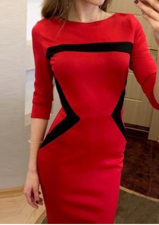 Color Block Splicing Zipper Bodycon Dress