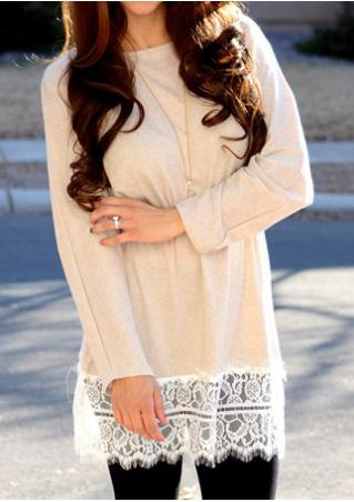 Lace Splicing Batwing Long Blouse