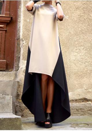 Color Block Asymmetric Maxi Dress Color