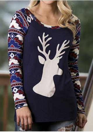 Christmas Reindeer Geometric Printed Splicing Blouse