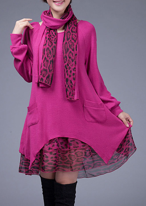 Image of Leopard Splicing Pocket Casual Dress With Scarf