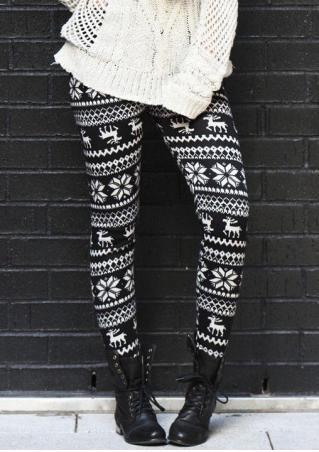 Christmas Reindeer Printed Stretchy Skinny Leggings