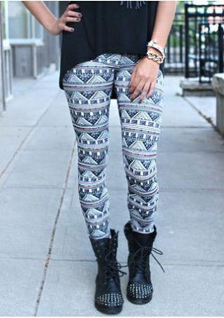 Geometric Printed Slim Skinny Leggings