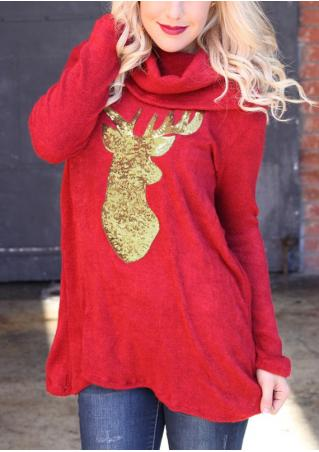 Christmas Reindeer Splicing Sequined Blouse