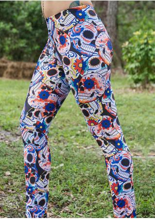 Multicolor Floral Skull Slim Leggings