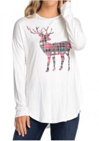 Christmas Reindeer Printed O-Neck Blouse