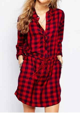 Plaid Pocket Button Casual Dress Without Necklace