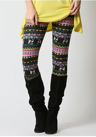 Geometric Printed Skinny Stretchy Leggings