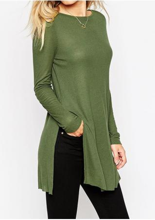 Solid Side Slit Blouse Without Necklace