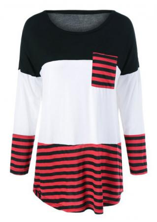 Color Block Striped Splicing Pocket Blouse