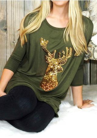Christmas Reindeer Printed Sequined Blouse